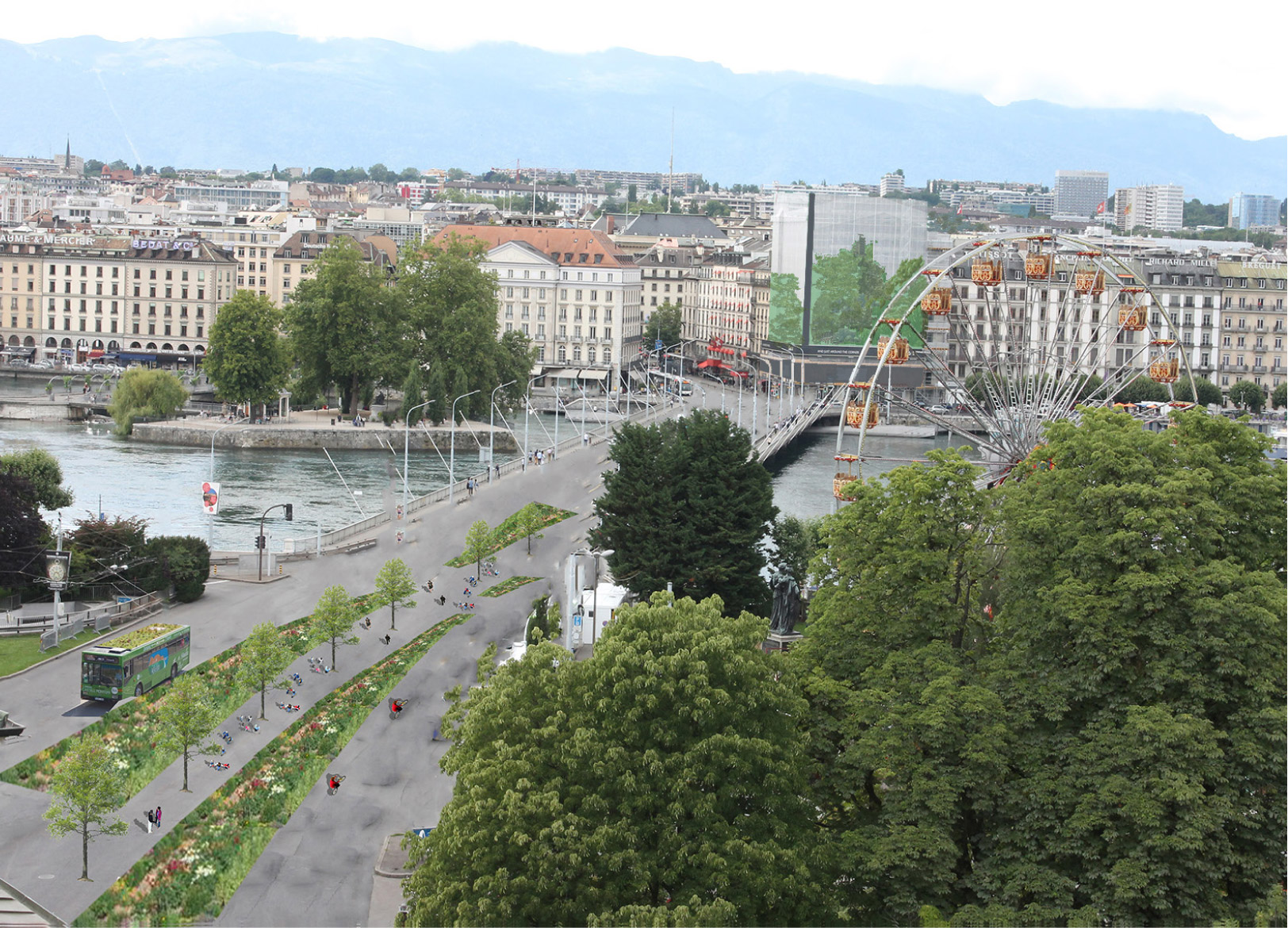 Pont du Mont-Blanc, Genève en 2035, par Vincent HURON