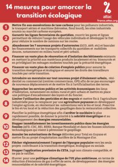Attac France – 14 mesures pour amorcer la transition écologique